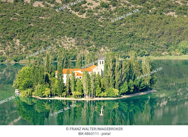 Visovac Monastery on the small island of Visovac, Krka National Park, Dalmatia, Croatia