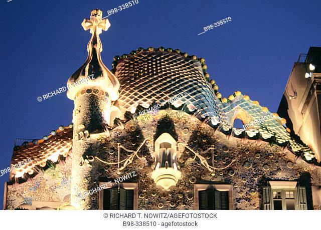 Spain. Barcelona. Casa batlló. Architect: Antoni Gaudí
