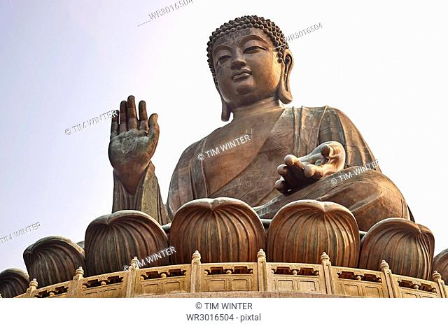 Big Buddha, showing the Buddhist swastika, Po Lin Monastery, Ngong Ping, Lantau Island, Hong Kong, China, Asia