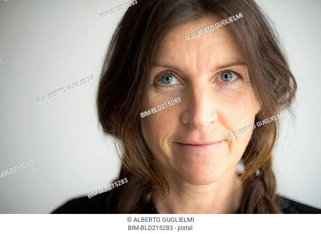 Close up of face of Caucasian woman