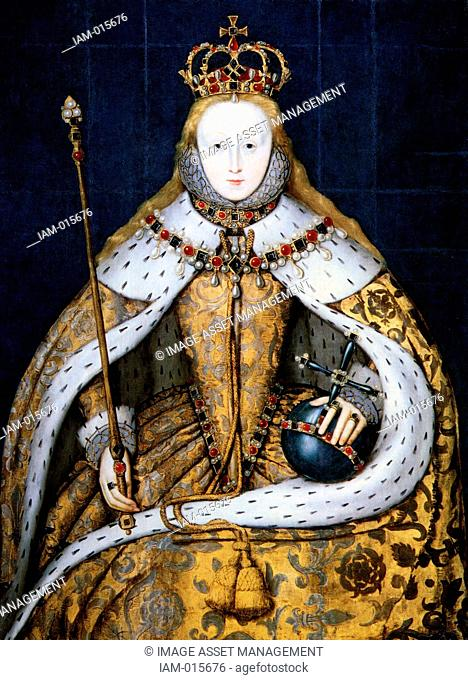 Elizabeth I in coronation robes. Elizabeth I 1533-1603 queen of England from 1558. Daughter of Henry VIII and Anne Boleyn, she was the last Tudor