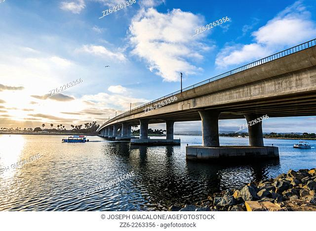 View of the West Mission Bay Drive Bridge crossing the Mission Bay Channel. San Diego, California, United States