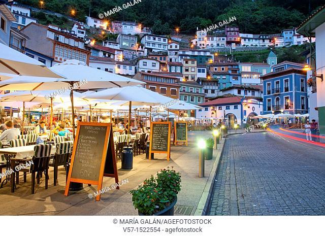 Terraces at night. Cudillero, Asturias province, Spain