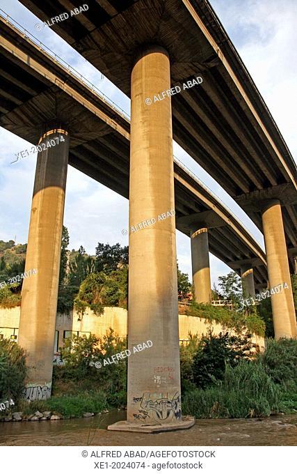 Viaducts, river Llobregat, Martorell, Catalonia, Spain
