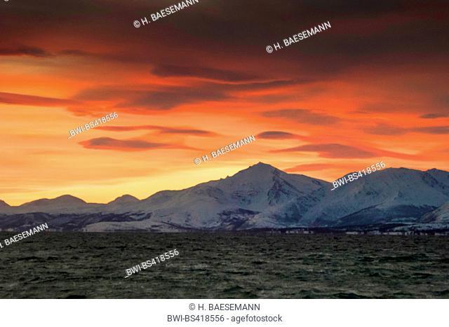 lenticularis clouds over Malangen, Norway, Troms, Tromsoe