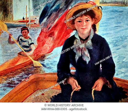 Painting titled 'Young Woman in a Boat (Lise Trehot)' by Pierre-Auguste Renoir (1841-1919) a French artist. Dated 19th Century