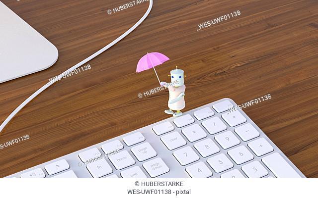 Female robot balancing on laptop, 3D rendering