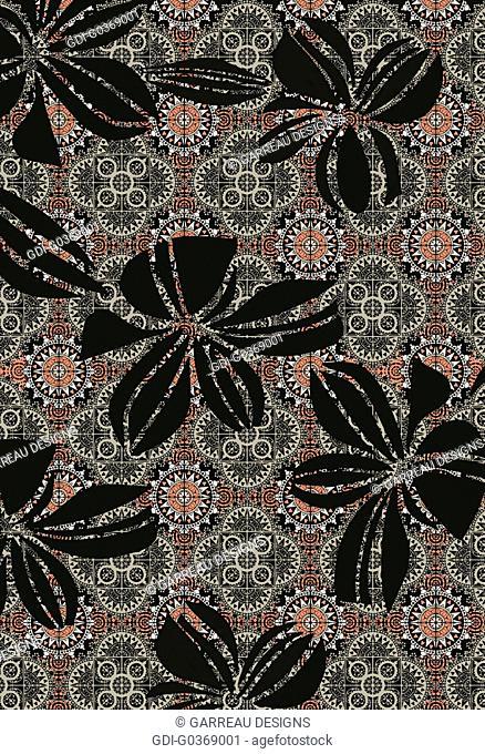 Flower shapes over geometric design