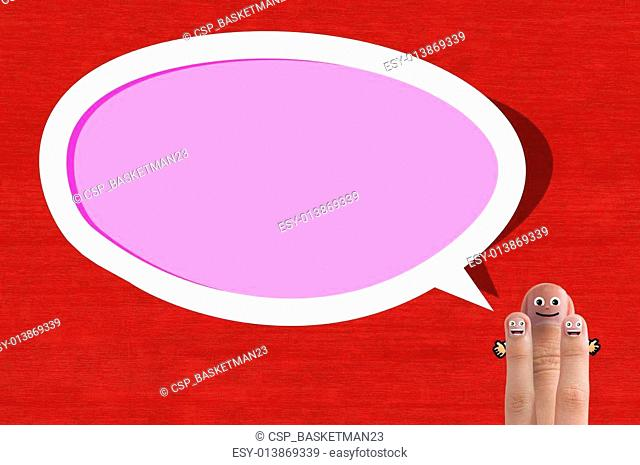 Smiling thumb with love bubble text, for valentine's day concept