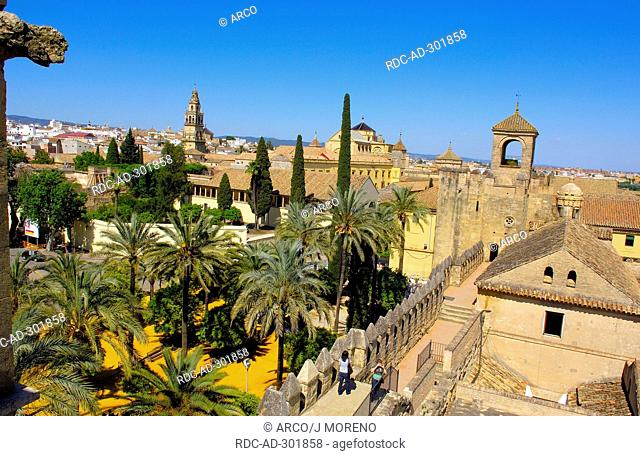 Minaret tower of Cathedral-Mosque, Reconquista, Roman Catholic church, tower of Alcazar de los Reyes Cristianos, Cordoba, Andalusia, Spain / former Great Mosque