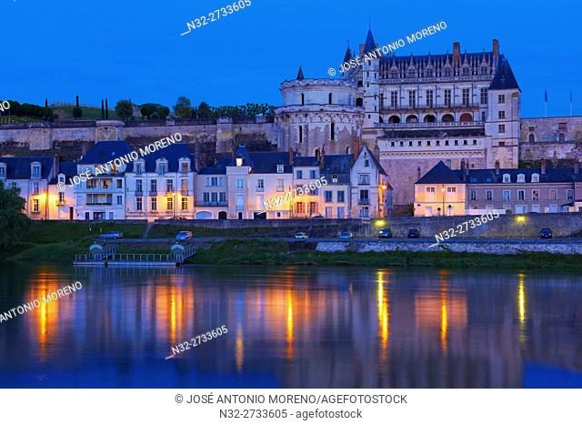 Amboise, Castle, Chateau de Amboise, Amboise Castle. Dusk, Indre et Loire, Loire Valley, Loire River, Val de Loire, UNESCO World Heritage Site, France