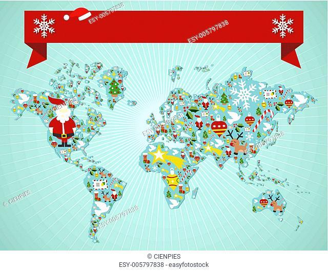 Christmas World map concept