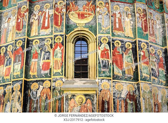 Frescoes of the painted monasteries of Sucevita, Bucovina, Romania, Europe