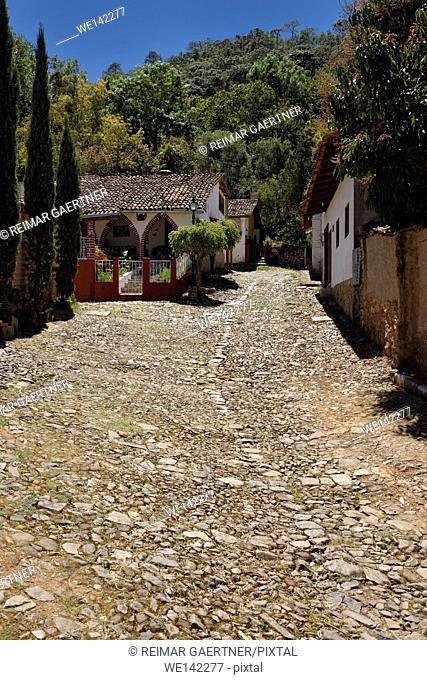 Historic mining village San Sebastian del Oeste Mexico with stone hillside road