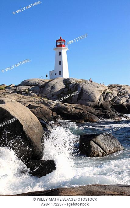 Peggy's Cove Ligthhouse at Peggys Cove Fishing village, St Margarets Bay, Lighthouse Route, Highway 333, Nova Scotia, Canada