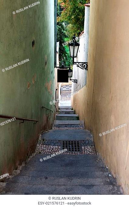 The narrow street in Prague