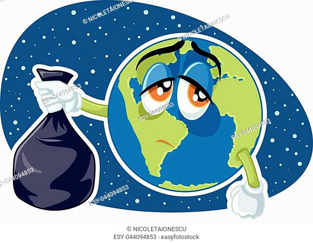 Plastic pollution concept drawing illustration