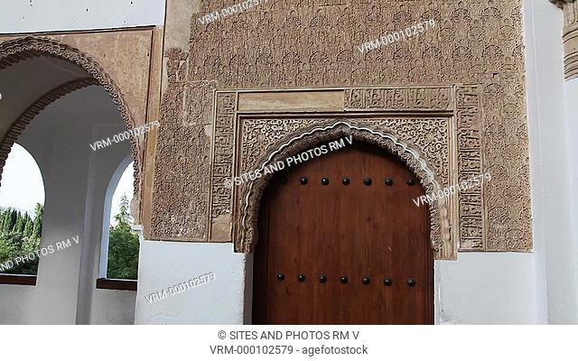 TILT up, CU, exterior, daylight. West Pavilion, door at the north-west corner of the courtyard. The palace was declared World Heritage Site by UNESCO in 1984