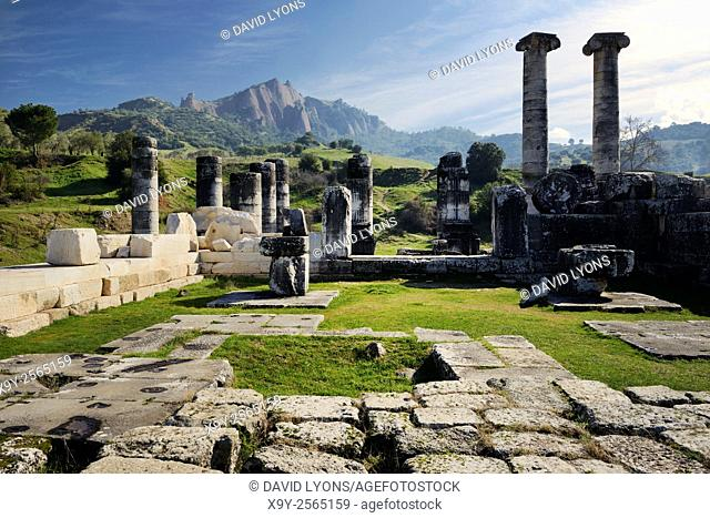 Ionic style Temple of Artemis in the ancient Greek city of Sardis in Lydia, Turkey dates from 300 BC. Renovated by Romans 200 AD