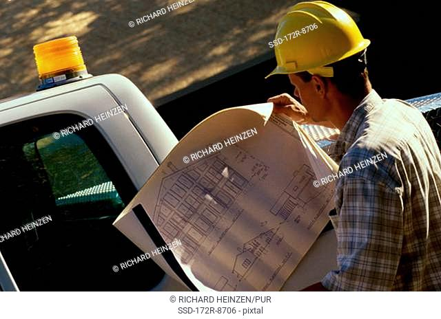Rear view of a male architect looking at a blueprint