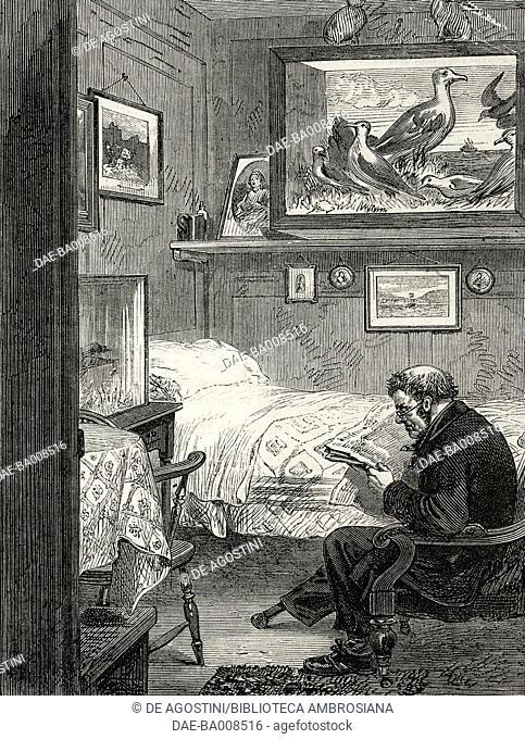 No 15 cabin, Royal Charles Ward, Greenwich Hospital, United Kingdom, illustration from the magazine The Illustrated London News, volume XLVI, April 22, 1865