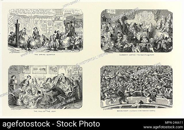 The Spring Quarter from George Cruikshank's Steel Etchings to The Comic Almanacks: 1835-1853 (top left) - 1845, printed c