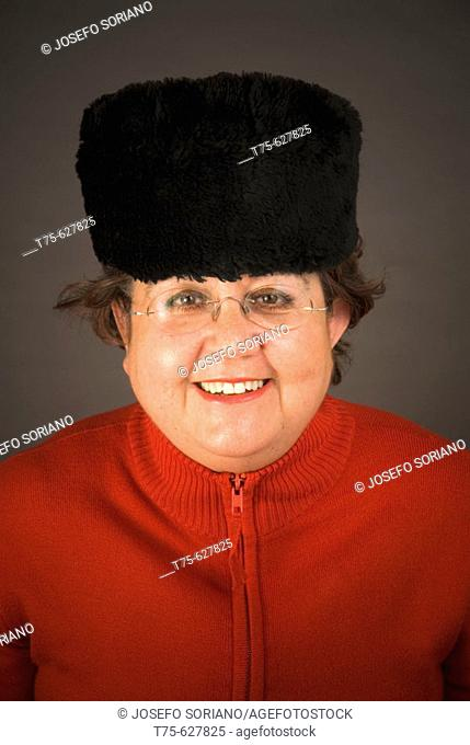 Woman with Russian fur hat