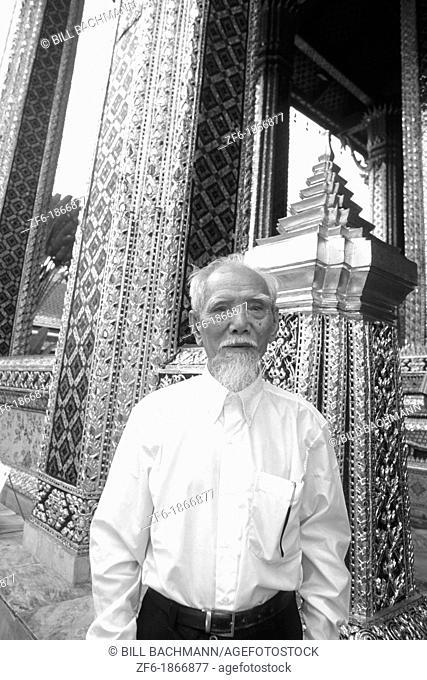 Wise Old Man at Emerald Buddha Grand Palace in Bangkok, Thailand
