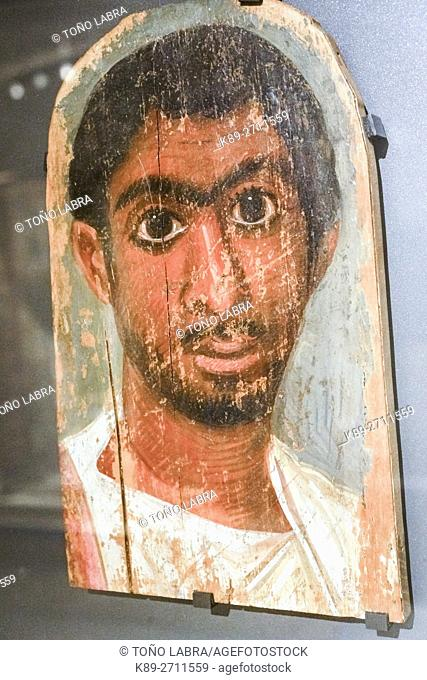 Fayum mummy portrait. Egyptian Ptolemaic collection. Louvre Museum. Paris. France