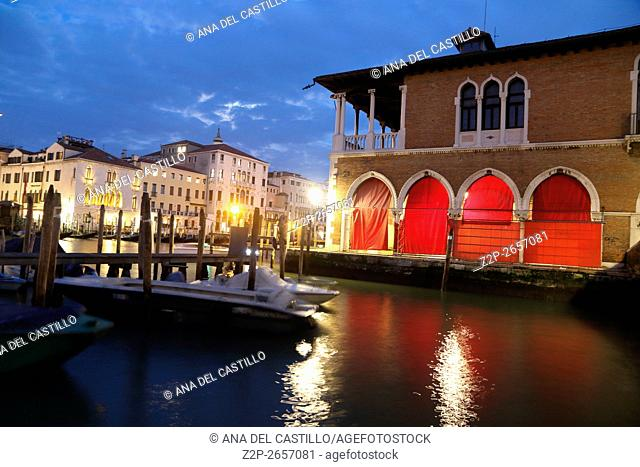 Canal Grande or Gran Canal by night on January 22, 2016 in Venice, Italy Rialto market