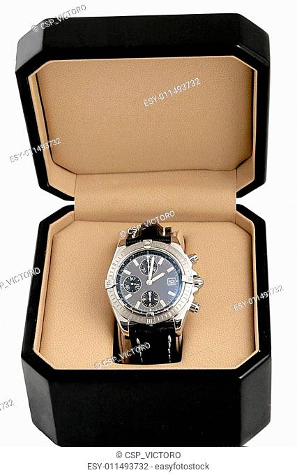 black box with luxury watch
