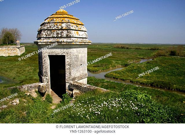France, Poitou Charentes province, Charente Maritime, Brouage - Vauban's citadel with forteress, walls and 'Echauguettes'