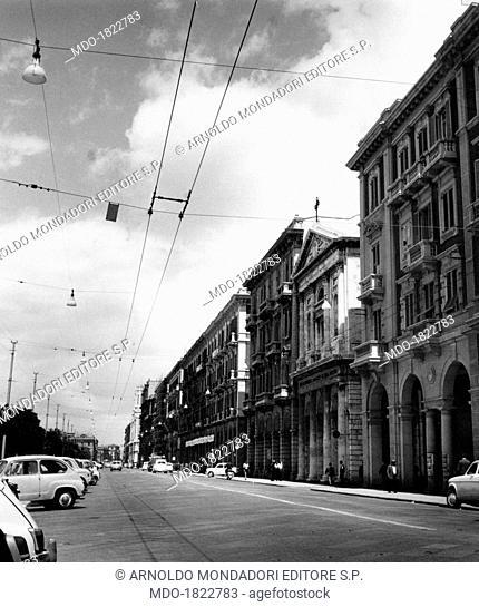 View of via Roma in Cagliari. Cagliari, 1960s