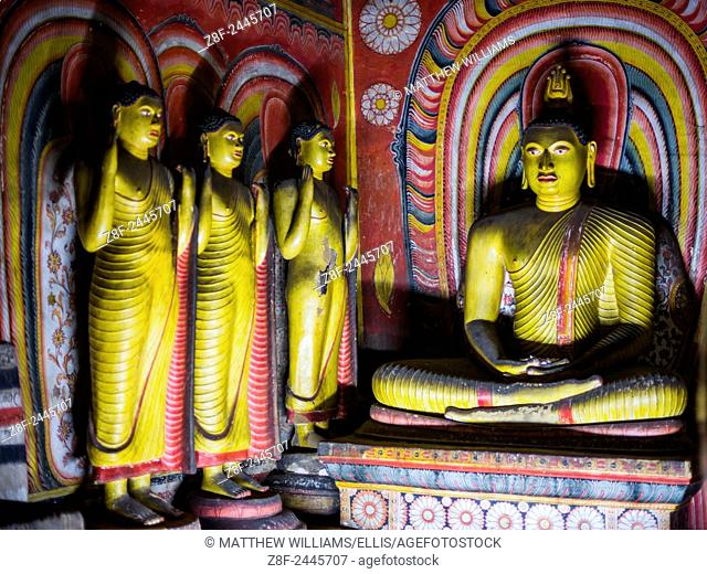 Dambulla Cave Temples, Buddhas inside cave 3 (Great New Monastery or New Great Cave Temple), Dambulla, UNESCO World Heritage Site, Central Province, Sri Lanka