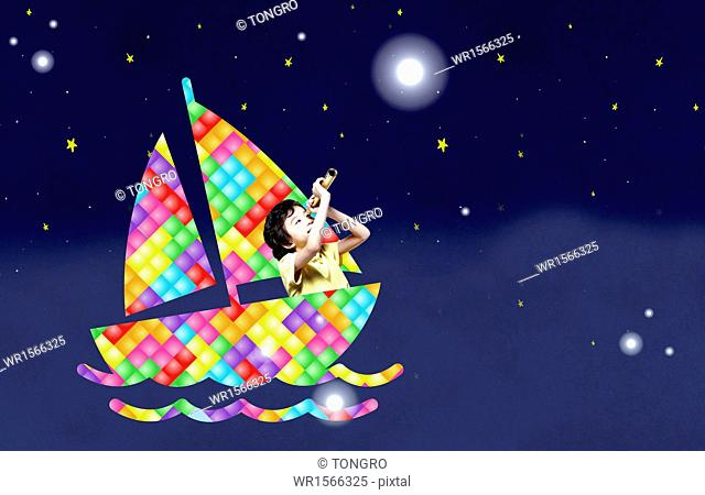a boy sitting in a boat looking at the night sky