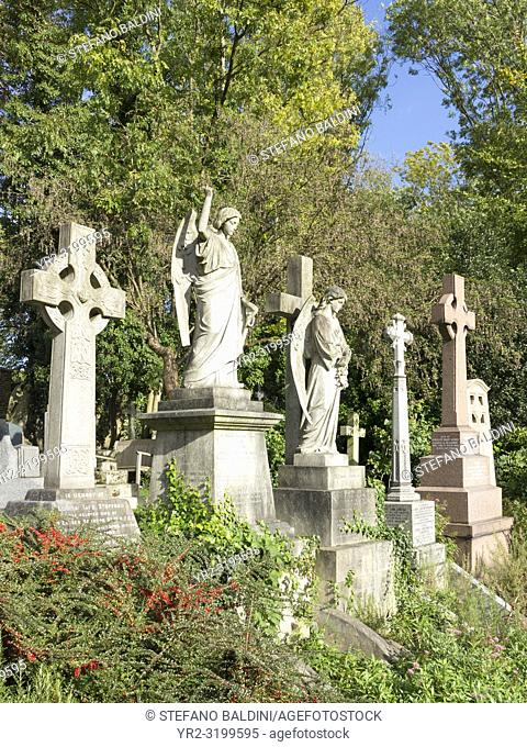 Old tombstones at Highgate cemetery, London, England