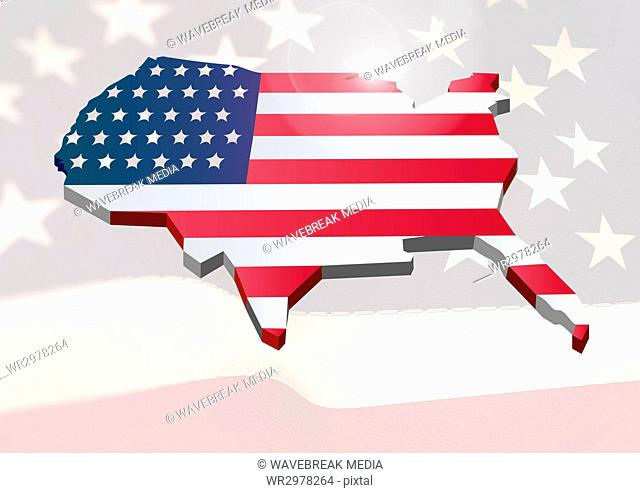 USA map covered by the american flag