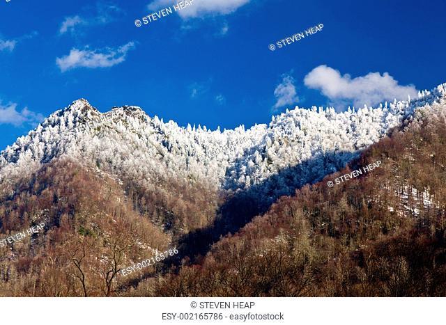 Chimney Tops in snow in smokies