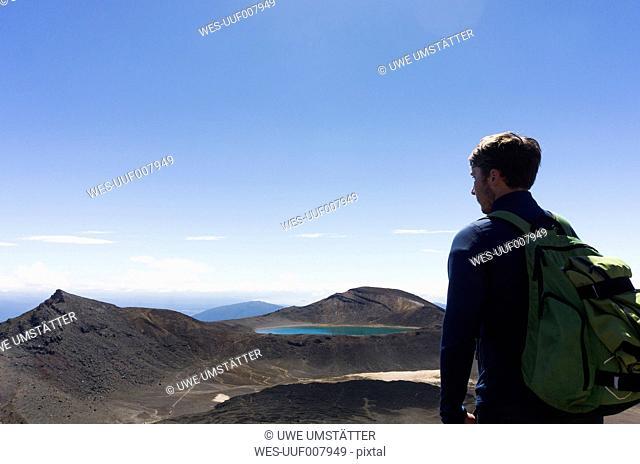 New Zealand, Tongariro National Park, hiker looking at view