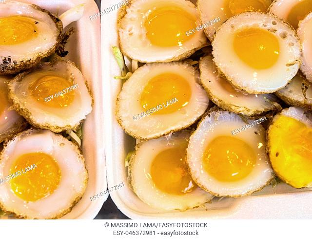 Fried quali eggs on market at Bangkok