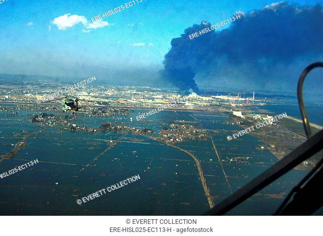View of destroyed Sendai Japan on March 13 2011 two days after the 9.0 magnitude earthquake and tsunami of March 11., Photo by: Everett...