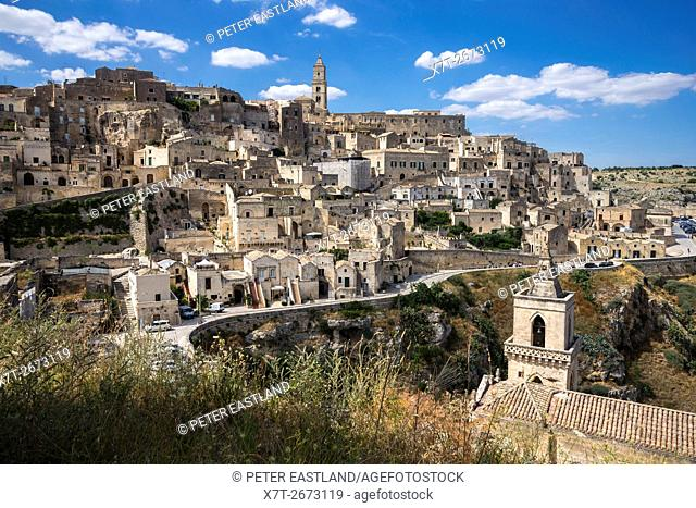 Looking over the town of Matera to the Duomo with San Pietro Caveoso in the forground, Basilicata, Southern Italy