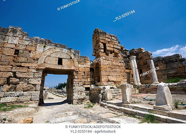 Picture of The north gate forms part of a fortification system built at Hierapolis in late 4th century Theodosian times. Hierapolis archaeological site near...