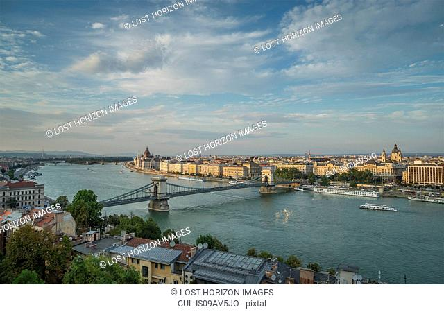 Chain Bridge and ferries on the Danube, Hungary, Budapest