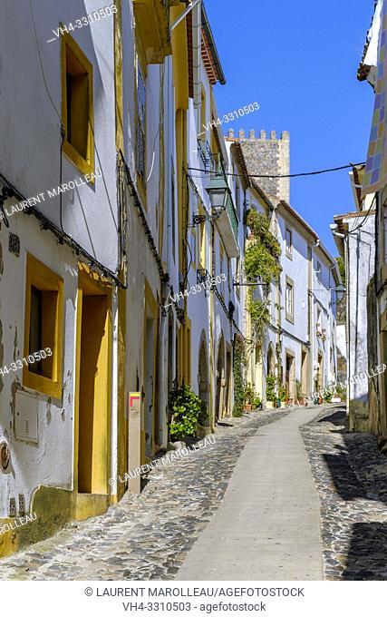 Narrow street in the old town of Castelo de Vide village, Portalegre District, Alentejo Region, Portugal