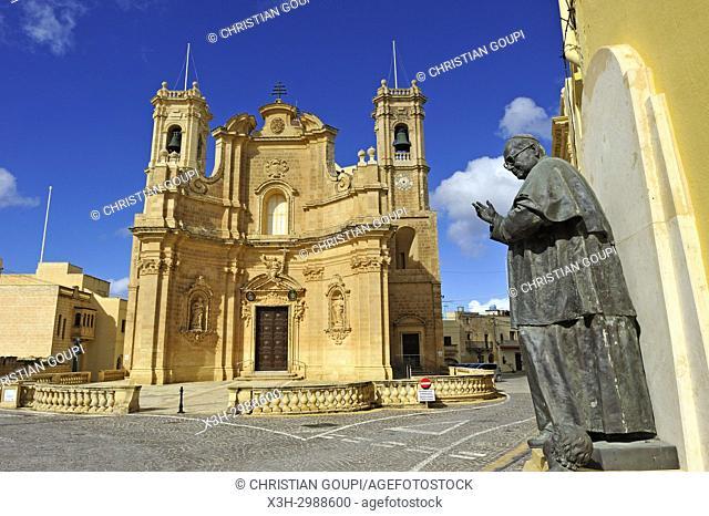 church of the Village of Gharb, Gozo Island, Malta, Mediterranean Sea, Southern Europe