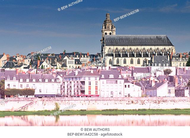 Old town of Blois in the Loire Valley France. The cathedral of St. Louis on top