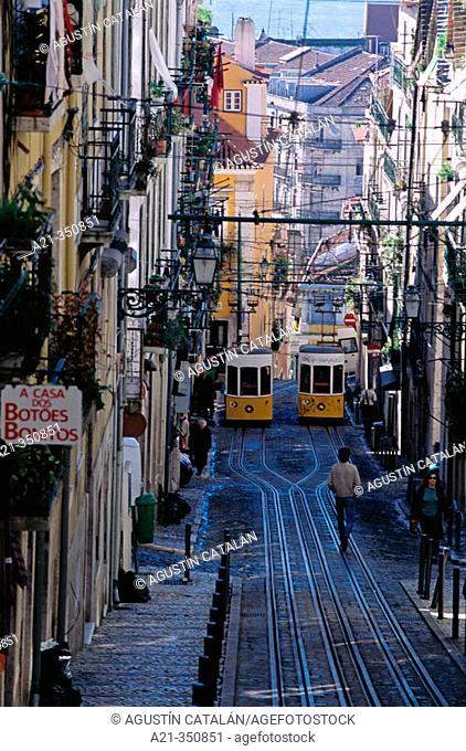Bica cable car from Chiado Alto. Lisbon. Portugal