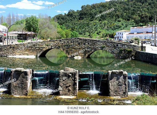 Stone bridge, river, reflections, waterfall, Rivera de Huezvas