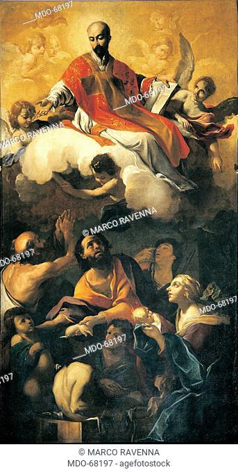 Apotheosis of St Ignatius, by Brandi Giacinto, 1621 - 1691, 17th Century, canvas. Italy; Emilia Romagna; Modena; San Bartolomeo church; . All